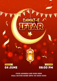 Red invitation card or template design with crescent moon