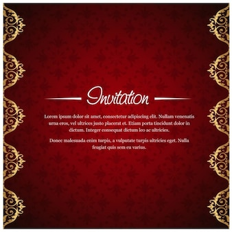 Red invitation with floral background