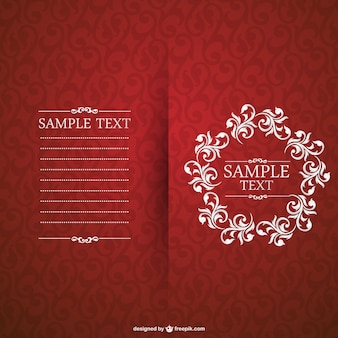Red invitation with floral frame