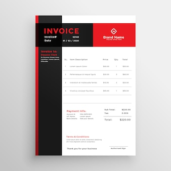 Red invoice template design for your business