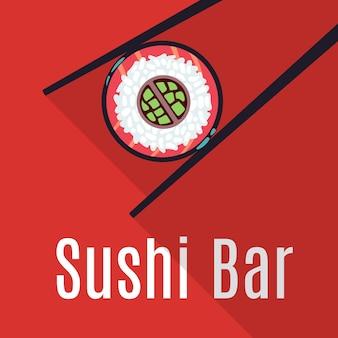 Red japanese sushi bar food logo template