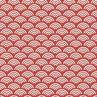 赤と白の色と赤い日本の波のシームレスなパターンの背景