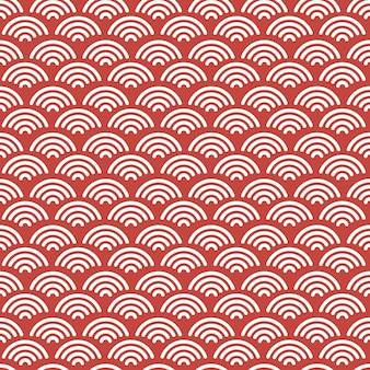 Red japanese wave seamless pattern background with red and white color