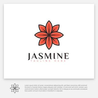赤いジャスミンの幾何学的なロゴ