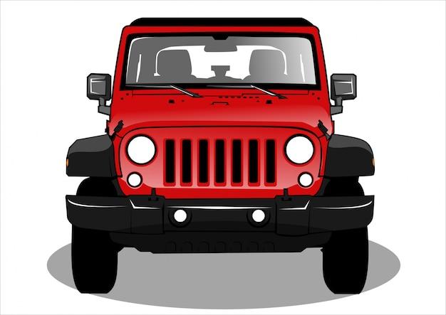 赤いジープ車のイラスト
