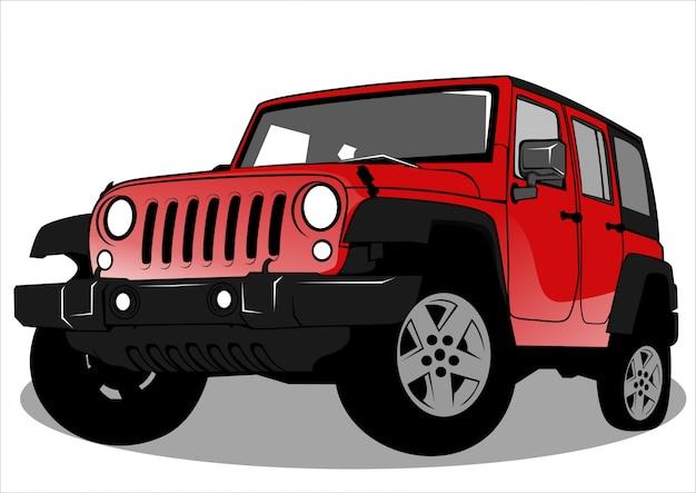 Red jeep car illustration