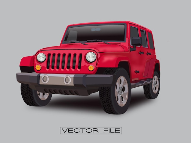 Red jeep car