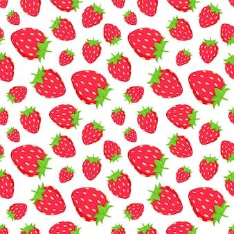 生地の赤いジューシーなstrawberrieベクトルパターン