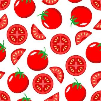 赤いジューシーなトマト全体と白い背景の上のシームレスなパターンのスライス