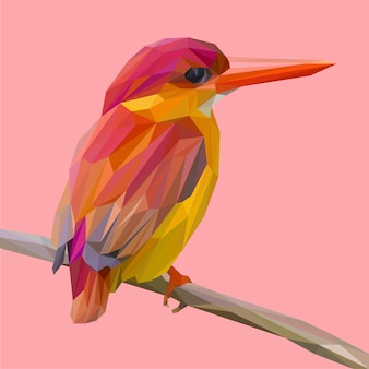 Red kingfisher bird pose on a branch lowpoly vector