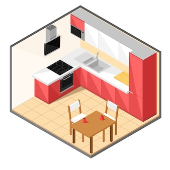 Red kitchen in isometric style