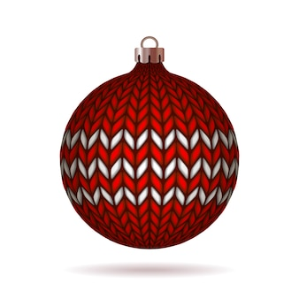 Red knitted christmas ball  on white background.  illustration.