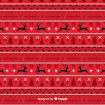 Red knitted christmas pattern