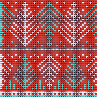 Red knitted seamless pattern