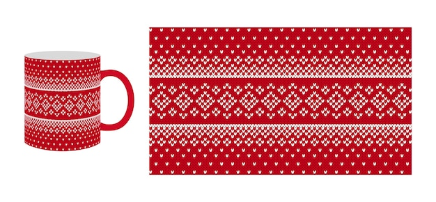 コーヒーカップに赤い編み物のプリント。クリスマスのシームレスなニットの質感。ひし形と雪のクリスマス冬のパターン。セーター、プルオーバーのイラスト。ホリデーフェアアイルの伝統的なデザイン。