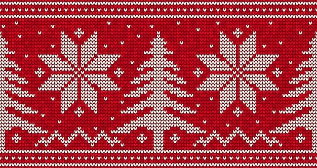 Красный вязание бесшовный фон фон с елками и снежинками. иллюстрация