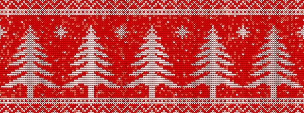 Red knitting seamless pattern background with christmas trees
