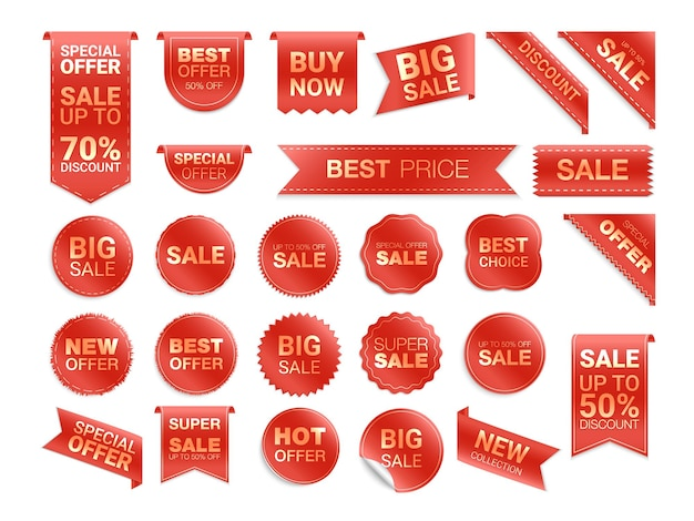 Red labels isolated. sale promotion. flat badges discount and tags.