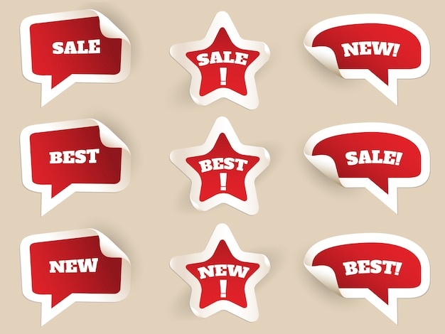 Red labels. new, best and sale. set of stickers by consumerism. vector illustration