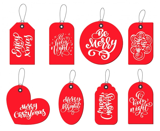 Red labels tags collection with calligraphy lettering christmas quotes