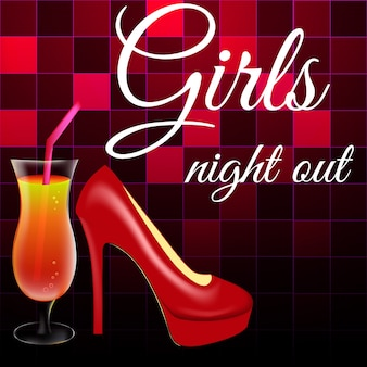 Red lacquered high-heeled shoes and a glass of orange cocktail on a background of disco squares.