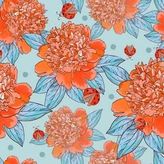 赤いてんとう虫とオレンジ色の牡丹のシームレスパターン