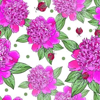 赤いてんとう虫とピンクの牡丹のシームレスパターン
