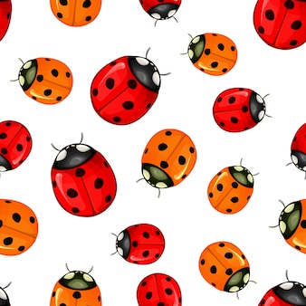 Red ladybug vector pattern seamless