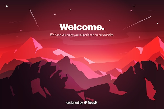 Red landing page with gradient landscape