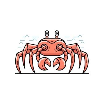Красный большой морской краб на пляже в плоский дизайн. летнее время иллюстрации значок outline