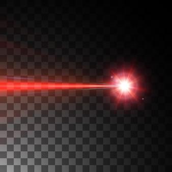 黒の背景に分離された赤いレーザービーム