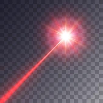 透明な背景に分離された赤いレーザービーム
