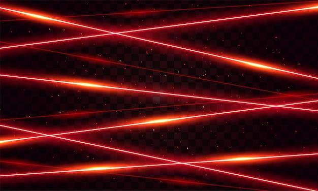 黒の背景に赤いレーザービーム光の効果