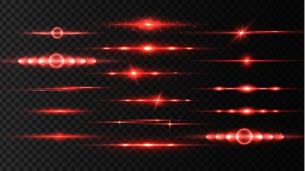 赤色レーザービーム、光フレア。