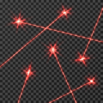 Red laser beams vector light effect isolated
