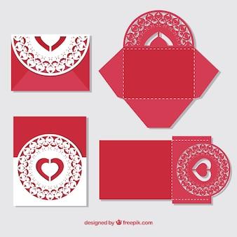 Red laser cut invitation