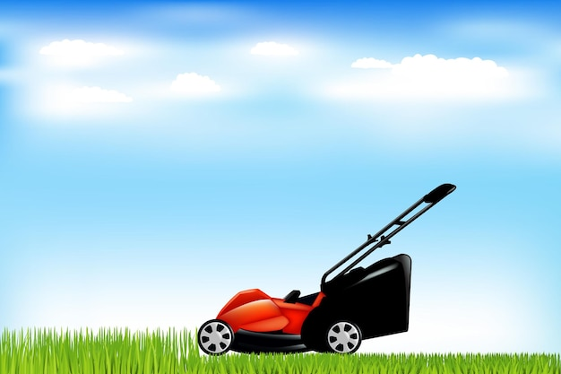 Red lawn mower with grass and blue sky