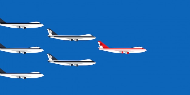 Red leader plane business concept illustration. flying direction vision follow group team.
