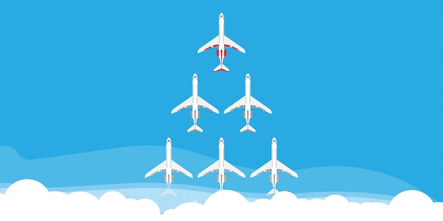 Red leader plane business concept illustration. flying direction vision follow group team