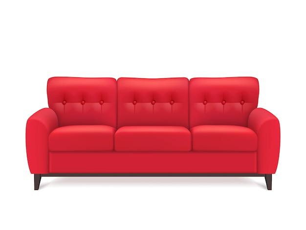 Красный кожаный диван реалистичные иллюстрации