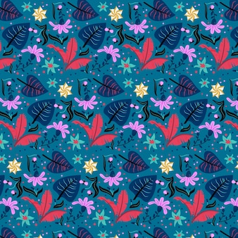 Red leaves and exotic flowers pattern