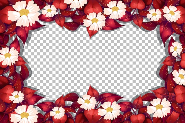Red leaves with flowers frame on transparent background