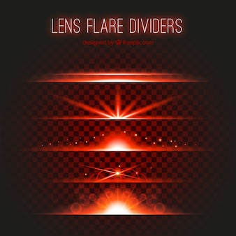Red lens flare divider collection