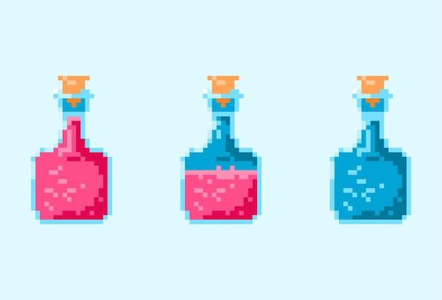 Red life potion magic bottle pixel
