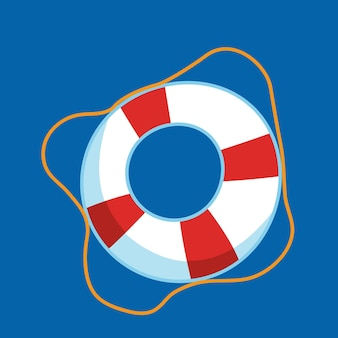 Красный спасательный круг на синем фоне. векторная иллюстрация мультяшныйа плоский.