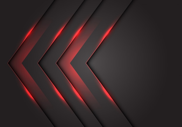 Red light 3d arrow direction, dark grey blank space background.