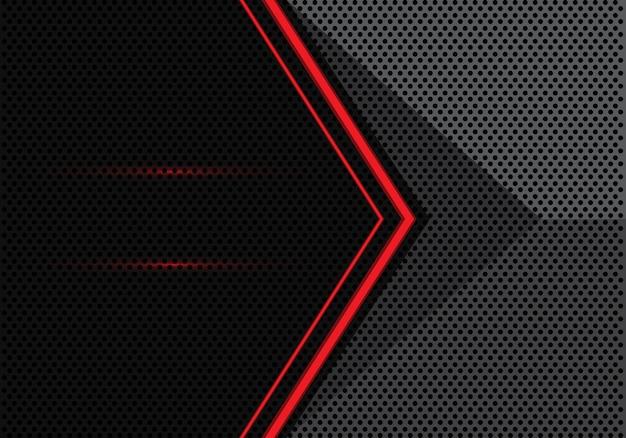 Red light arrow on gray black circle mesh background.
