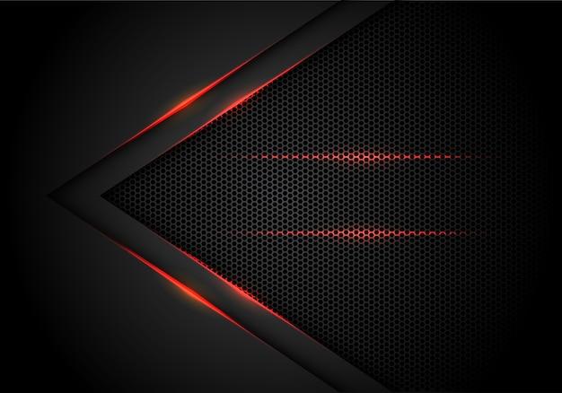 六角形メッシュの背景と黒の赤いライトの矢印。