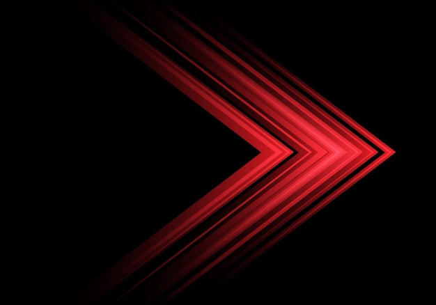 Red light arrow speed direction on black background .