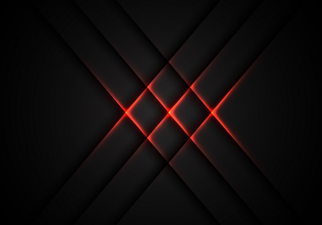 Red light cross pattern on grey technology background.